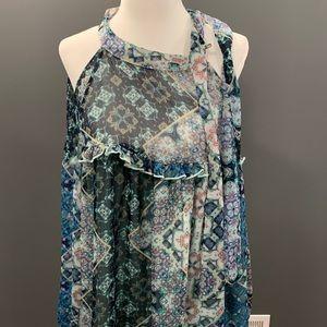 Libby Edelman Floral Blouse Shirt medium